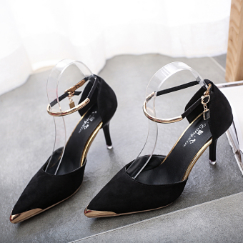 Women Pointed Toe Suede Buckle Strap Pumps Shoes (Black) - intl