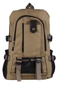 HKS Men Canvas Backpack Shoulder Outdoor Camping Travel School Student Bag Rucksack Dark Kharki - intl