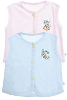Bộ 2 áo khỉ thêu trẻ em Nanio A0004-Hxd (Hồng Xanh Đậm)