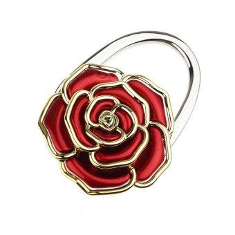 Portable Folding Handbag Rose Hook Hanger Holder Bag Locking Device Red