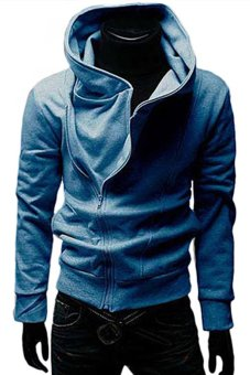 Bluelans Men's British Style Casual Fashion Personality Stayed Hooded Jacket Coat Blue (Intl)