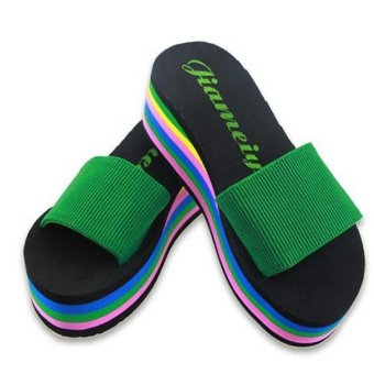 Women Rainbow Summer Non-Slip Sandals Female Beach Slippers - intl