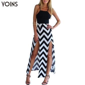 YOINS 2016 New Women Sexy Sleeveless Wave Print Maxi Long Dress Fashion Side Split Cami Dress Backless Beach Wear Dress Vestidos - intl
