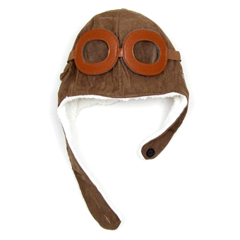 Winter Warm Child Hat Beanie Earflap Hat Pilot Aviator Style Cap For 2 - 5 Years Old Kids Coffee