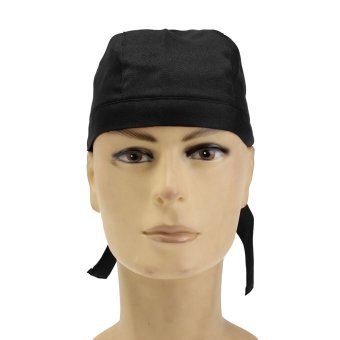 Pirate Skull Cap Chef Hat Professional Catering Various Colourful Waiter Chef Black - intl
