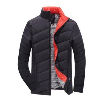 Mens cotton Padded Jacket Collar Male Slim Jacket Thickened Korean Men Jacket Youth Section (Black) - intl