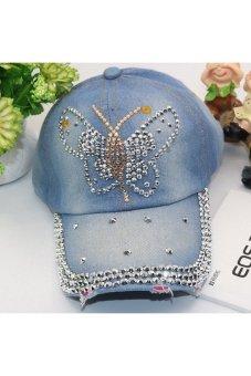 Moonar Fashion Women Denim Rhinestone Embedded Baseball Cap (8#)