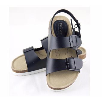 [The bany] Sandal đế bệt 3cm quai đen cài ngang