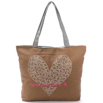 Teamtop Printing Canvas Bags Women Handbag Fashion Shoulder Shopping bag Totes Beige - intl