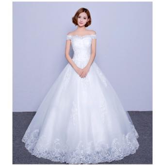 Áo cưới trễ vai, xoè nhẹ, thân ren đơn giản