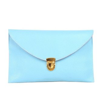 Women Candy Color Envelope Bags Clutch Bags Shoulder Bags Light Blue - intl