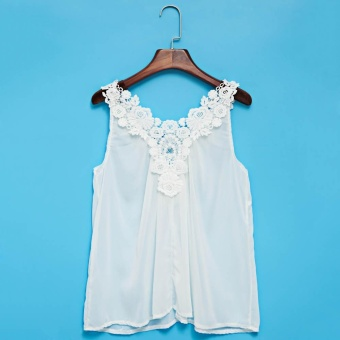 Refreshing Style U-Neck Sleeveless Lacework Pure Color Spliced Tank Top For Women(White) - intl