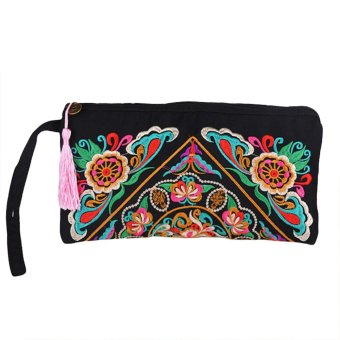 New Fashion Women Clutch Bag Embroidery Contrast Wrist Strap Elegant Mobile Phone Bag - intl