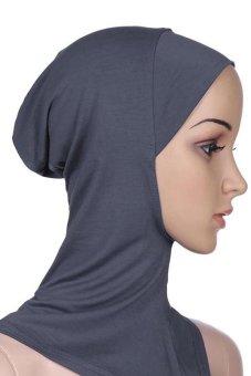 Bluelans Muslim Full Cover Inner Hijab Cap Islamic Underscarf Neck Head Bonnet Hat Grey (Intl)