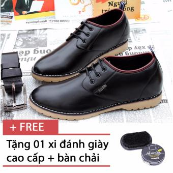 Giày da thật tăng chiều cao SMARTMEN GD2-05 (Đen) + Tặng 1 hộp xi cao cấp và 1 bàn chải