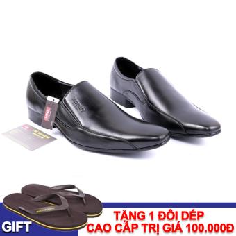 Giày tây nam công sở da thật Da giày Việt Nam VNLMO1A85D-1 (Đen) + Tặng 1 đôi dép