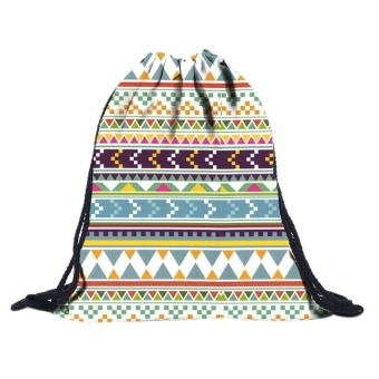 Fashion 3D Printing Travel Backpack Softback Harajuku drawstring Bag Multicolor - intl