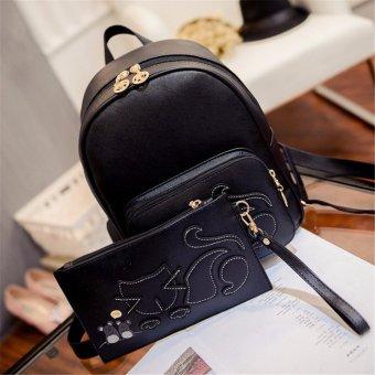 2PCS Cat Women Girls Leather Backpack Purse Shoulder School Bag Handbag Rucksack v - intl
