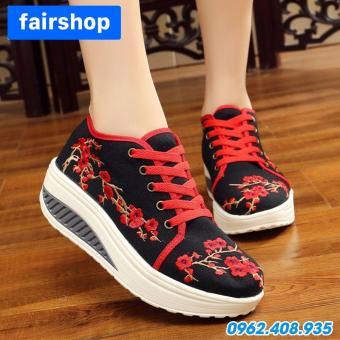 Giày Đế Xuồng Nữ Cách Tân Thêu Vải FairShop FG-209D (Đỏ đen)