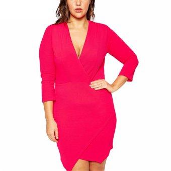 Gamiss V Neck Dress Plus Size (Rose Red) - Intl