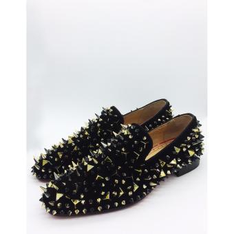 Giày Slippers Da Bê Lộn Đính Hạt và Đinh