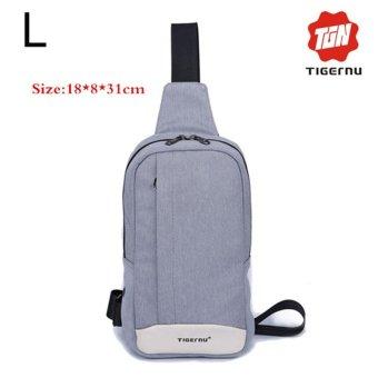 Lan-store Premium Quality Chest Bag-2017 Tigernu Brand Man Messenger Bags Casual Men's Travel Bags Chest Bag Pack Small Crossbody Men Women Shoulder Bag (Silver Grey) - intl