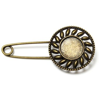 Vintage Retro Safety Pin Brooch Scarf Shawl Belt Buckle Matching Clothes 7design Round Tap NEW - intl
