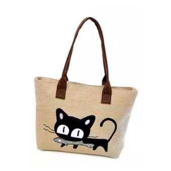 Fancyqube Cartoon Cat Canvas Bag Fashion Simple Shoulder Bags Portable Leisure Bag Handbag For Female Drop Shipping Khaki - Intl