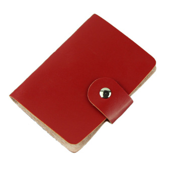 Fashion Business Credit ID Card Holder Bags Leather Strap Buckle Bank Card Red
