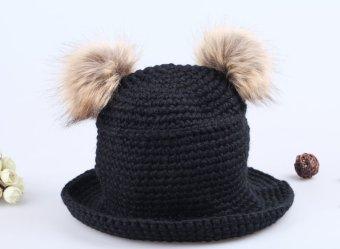Cute Sweet Girl Hat Twin Bobbles Knitted Warm Cap Black (Intl)