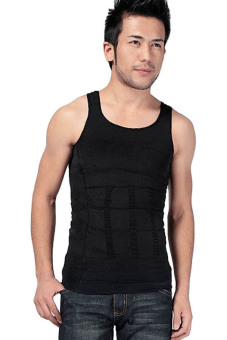 Fancyqube Men's Body Sculpting Slimming Vest Black