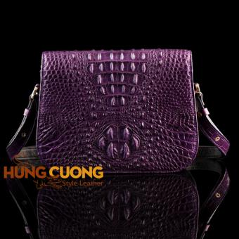 Túi đeo chéo da cá sấu thật Hùng Cường HC2005 (Tím)