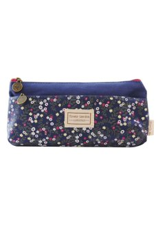 Bluelans Flower Canvas Pencil Case Makeup Coin Pouch Zipper Bag Purse Dark Blue (Intl)