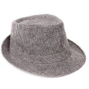 Men Women Cuban Style Fedora Trilby Hat Gangster Panama Short Brim Cap Sunhat - Intl