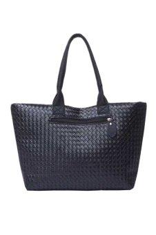 Leather Messenger Hobo Handbag Shoulder Bag (Black)