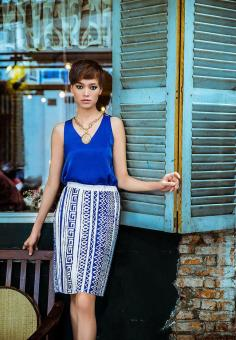 hanali - Váy vải dập ly