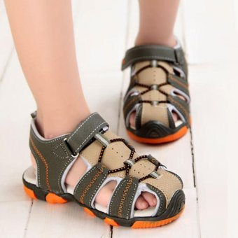 Moonar Boys Summer Sandal Children Casual Breathable Antiskid Leather Shoes (Orange) - intl