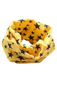 Bluelans Kids Boy Girl Stars Cotton Neckerchief Scarves Shawl Unisex Knitting Yellow (Intl)