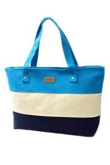 Women's Canvas Mommy Blue White Striped Zipper Tote Shoulder Bag Handbag - intl
