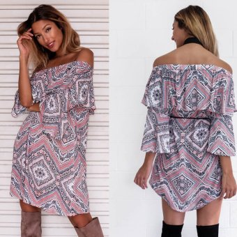 Zaful Women Bohemia Print Off Shoulder Mini Dress With Belt (Colorful) - intl