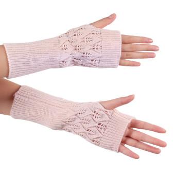 Knitted Fringe Warm Gloves Beige (Intl)