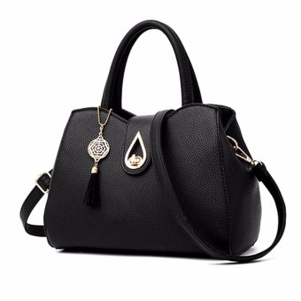 Women Ladies Leather Handbag Shoulder Bag Messenger Satchel Crossbody Bag Purse Black - intl