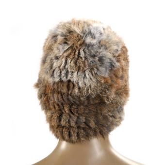 Women Russian Rabbit Fur Knitted Cap Nice Winter Warm Beanie Hat Brown (Intl)