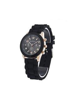GENEVA Silicone Strap Watch (Black) - intl
