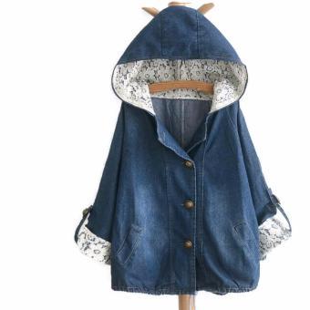 Áo khoác jean hoodie nữ kết ren LTTA212