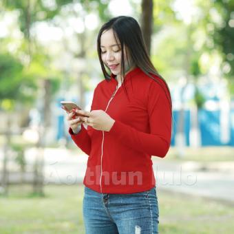 Áo thun nữ cổ lãnh tụ dây kéo dài - Tay dài (Đỏ tươi)