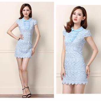 Đầm ren nổi champy GS2046 (Xanh)