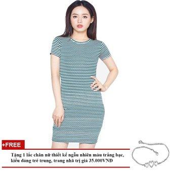 Đầm Ngắn Tay Dáng Suông Kẻ Sọc Soyoung GIFT DRESS 0058C W DGR + Tặng 1 Lắc Chân Nữ
