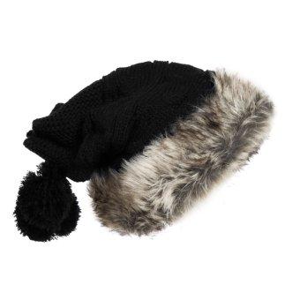 2015 Hot sell Women Knit Hat Winter Warm Crochet Hat Rabbit Scarf Black (Intl)