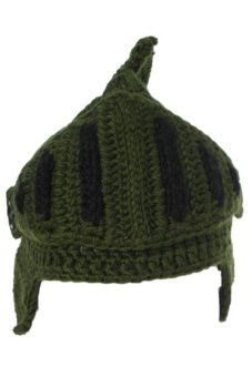 LALANG Hand-Knit Beanie Knight Hat Masks Cap (Army Green) - Intl